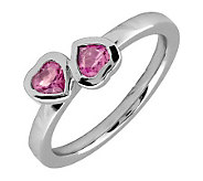 Simply Stacks Sterling & Pink Tourmaline Double-Heart Ring - J299343