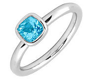 Simply Stacks Sterling Cushion Cut Blue TopazRing - J299443
