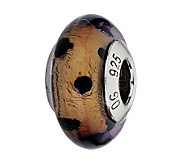 Prerogatives Brown with Black Dots Italian Murano Glass Bead - J300243