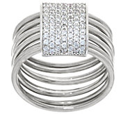Italian Silver Sterling Pave Crystal Layered Ring - J329343