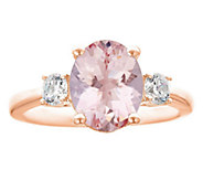 Premier 2.25ct Morganite & 3/10cttw Diamond Ring, 14K - J336243
