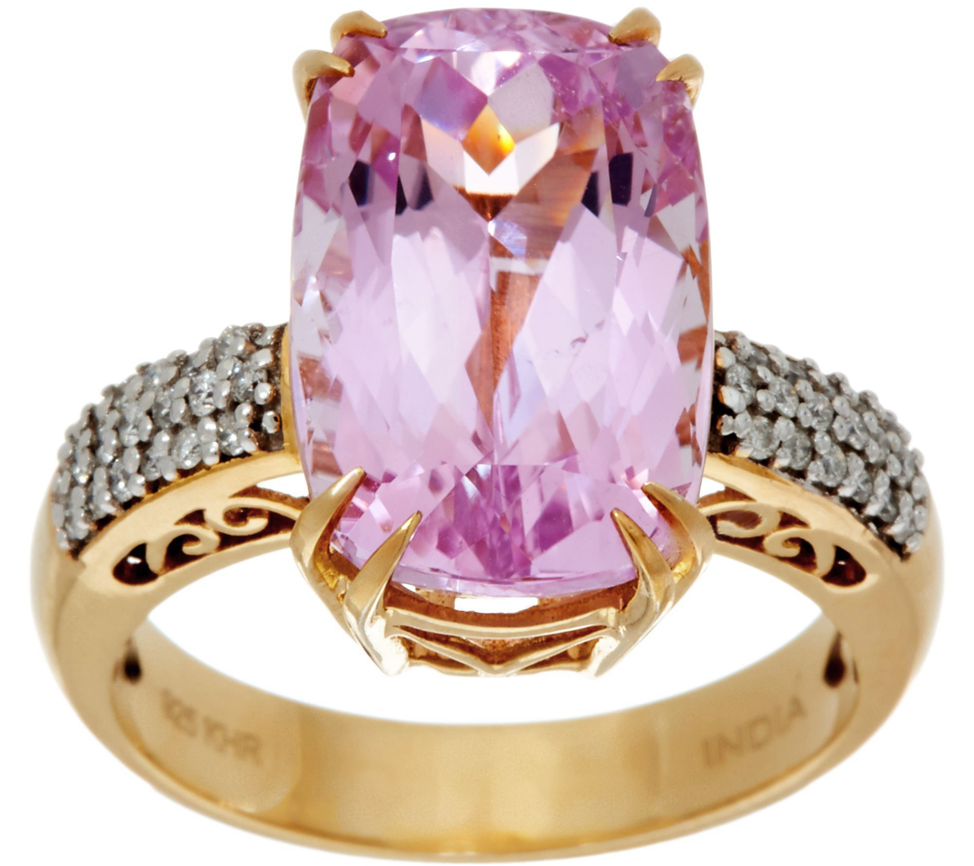 Elongated Cushion Kunzite & Diamond Ring 14K Gold 8.00 ct - Page 1 ...