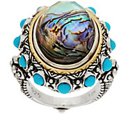 Barbara Bixby Sterling/18K Abalone Doublet & Turquoise Ring - J350743