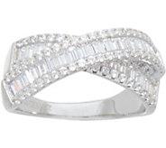 Diamonique Baguette Crossover Ring, Sterling - J351243