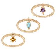 Judith Ripka 14K Gold Choice of Gemstone Charm Rings - J355343