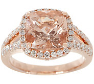 Cushion Cut Morganite & Diamond Ring, 14K, 3.00 cttw - J355443