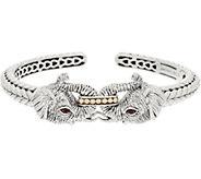JAI Sterling Silver & 14K Gold Double Elephant Cuff, 35.3g - J355643