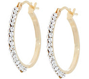 Italian Gold and Swarovski 3/4 Hoop Earrings, 14K Gold - J355843