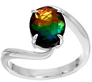 As Is Ammolite Oval By-Pass Sterling Silver Ring - J357243