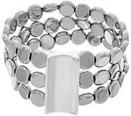 Simon Sebbag Sterling Silver Hematite Disc Triple Strand Bracelet - J358343