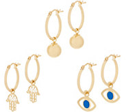 Italian Gold Hoop Earrings Charm Set 14K Yellow Gold - J358743