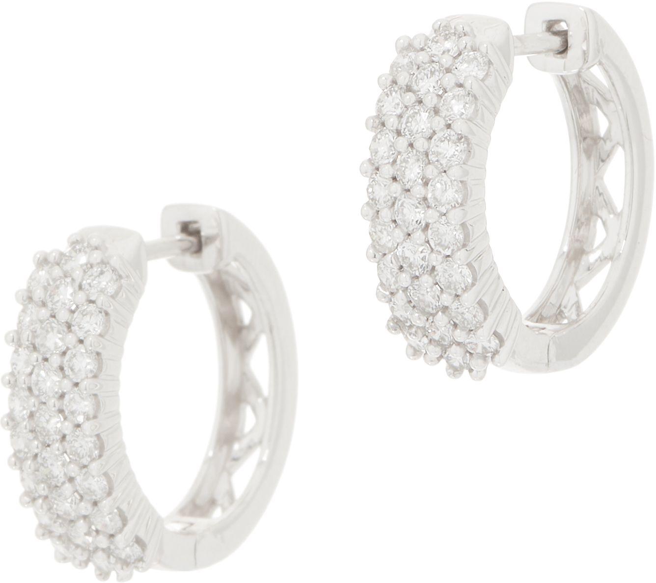 Affinity Diamond 14k Gold Huggie Hoop Earrings 1 00 Cttw Qvc