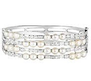 Honora Cultured Pearl & White Topaz 4-Row Sterling Bangle - J383843