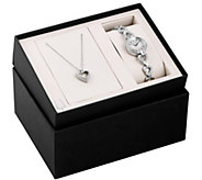 Bulova Womens Stainless Crystal Watch & HeartNecklace Set - J384243