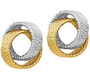14K Gold Textured Interlocking Hoop Earrings - J385543