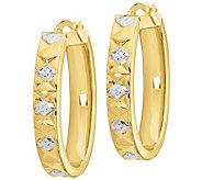 Italian Gold Diamond-Cut, Two-tone, Oval Hoop Earrings, 14K - J385643