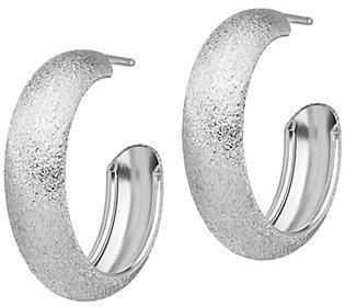 Italian Silver Textured Satin Post Hoop Earrings