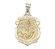 14K Yellow Gold Badge Shape Saint MichaelMedal - J108244