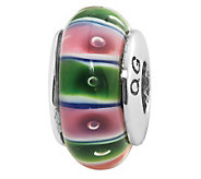 Prerogatives Sterling Green and Pink Glass Bead - J109344