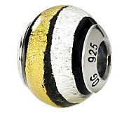 Prerogatives Sterling White & Gold Italian Murano Glass Bead - J111544