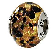 Prerogatives Sterling Gold & Black Italian Murano Glass Bead - J111744