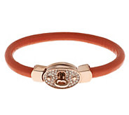 Stainless Steel Crystal and Leather Turnlock Bracelet - J289744