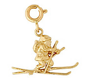 14K Yellow Gold Santa on Skis Charm - J298444