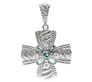 Judith Ripka Sterling Diamonique & Swiss Blue Topaz Enhancer - J312844