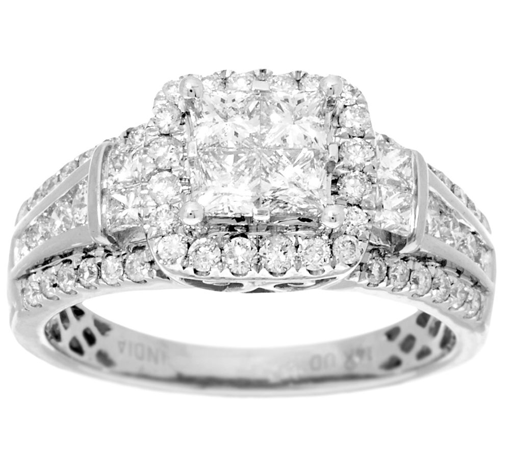 As Is Halo Mosaic Diamond Ring 14k 14 40 Cttw By Affinity Page 1 Qvc
