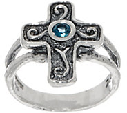 Or Paz Sterling London Blue Topaz Cross Ring - J350644