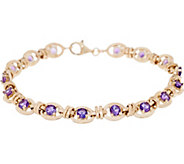 14K Gold 8 Gemstone Station Bracelet - J354244