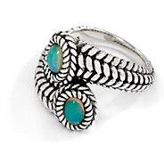 JAI Sterling Silver Gemstone Basketweave Bypass Ring - J355644