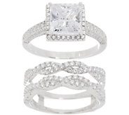 Diamonique Interchangeable Halo Ring Set, Sterling Silver - J357644