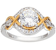 As Is Diamonique Two Tone Infinity Bridal Ring, Sterling - J358444