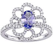 0.75 ct Tanzanite & 2/5 cttw Diamond Flower Ring, 14K - J377744