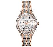 Bulova Womens Rosetone Swarovski Crystal Watch - J378544