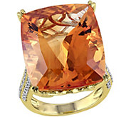 14K 31.25 cttw Citrine and 1/2 cttw Diamond Cocktail Ring - J392344