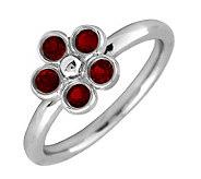 Simply Stacks Sterling & Garnet Sweet Flower Ring - J299445