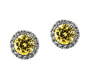 Diamonique 100-Facet Canary Stud Halo Earrings,Platinum Clad - J304545