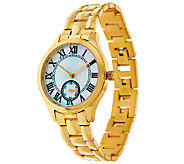 Veronese 18K Clad Mother of Pearl Panther Link Watch - J323945