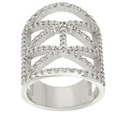 As Is Italian Silver Sterling Diamonique Deco Design Ring - J334145