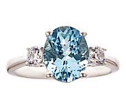 Premier 2.25ct Aquamarine & 3/10cttw Diamond Ring, 14K - J336245