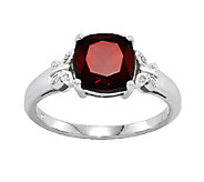 Cushion Cut Gemstone w/ Butterfly Accent Ring,14K White Gold - J336645