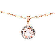 2.70 cttw Round Morganite & Diamond Halo Pendant w/ Chain,14K - J336745