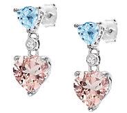 4.50cttw Blue Topaz & Morganite Heart Drop Earrings, Sterling - J337045