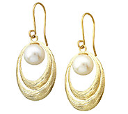 EternaGold Textured Oval Freshwater Pearl Dangle Earrings, 14 - J337445