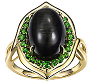 Cats-Eye Tourmaline & Chrome Diopside Ring, 14K Gold - J338545