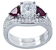 Diamonique & Simulated Gemstone Bridal Ring Set, Platinum Cla - J339945