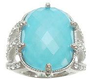 Judith Ripka Sterling Turquoise Doublet & Diamonique Ring - J341645