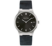 Caravelle New York Mens Classic Black LeatherStrap Watch - J344445